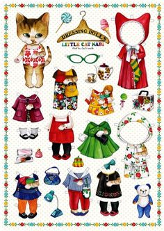 Clothes Illustration Dolls - Paper Doll Clothes Dress Adorable Little Cat Kitty Illustration Doll Lot 4 Sheet. dolls Clothes Illustration Dolls - Paper Doll Clothes Dress Adorable Little Cat Kitty Illustration Doll Lot 4 Sheet Diy Paper, Paper Art, Paper Crafts, Art Origami, Paper Dolls Printable, Paper Animals, Vintage Paper Dolls, Doll Parts, Cat Crafts