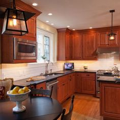 Coastal Kitchen Curtains color and white subway tile…Cherry Cabinets Kitchen Design Ideas, Pictures, Remodel and Decor Refacing Kitchen Cabinets, Kitchen Cabinet Remodel, Kitchen Cabinet Colors, Kitchen Backsplash, Backsplash Ideas, Cherry Wood Kitchens, Cherry Wood Cabinets, Maple Cabinets, Oak Cabinets