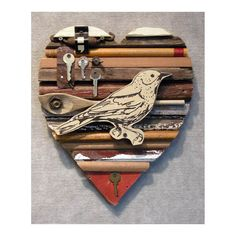 put a bird on it! Origami, Happy Heart, Architectural Salvage, Recycled Wood, Heart Art, Medium Art, Heart Shapes, Folk Art, Art Pieces