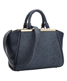 Navy Two-Tone Winged Satchel #zulily #zulilyfinds