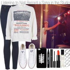 Listening to Niall Record a Song at the Studio by elise-22 on Polyvore featuring Mode, River Island, Topshop, Converse, ASOS, NARS Cosmetics, NYX, Eight & Bob and Chanel