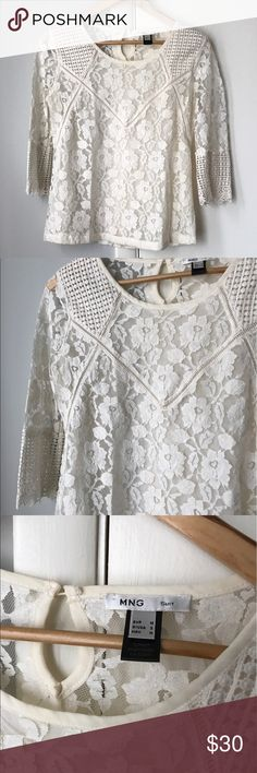 Mango lace blouse in ivory In excellent condition Mango Tops Blouses