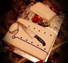Birthday Cake Photos - Chef Birthday Cake - Jacket, knife and hat. Knife is made of fondant.