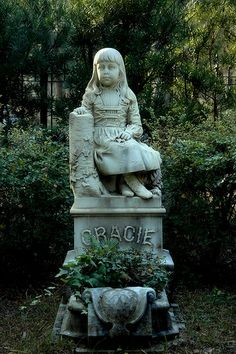 Little Gracie Watson 6 year old Victorian Girl Headstone Monumental Marble Carved from Photograph Bonaventure Cemetery Savannah GA Picture I...