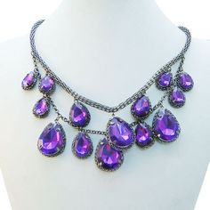 Luxury-2-Layer-Lots-Teardrop-Cluster-Purple-Swarovski-Crystal-Statement-Necklace