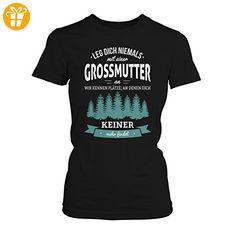 Fashionalarm Damen T-Shirt - Leg dich niemals mit einer Großmutter an | Fun Shirt mit Spruch als Geburtstag Geschenk Idee für Oma, Farbe:schwarz;Größe:XL (*Partner-Link)