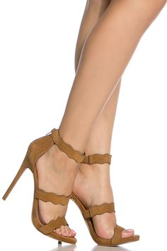 Chestnut Faux Suede Scalloped Single Sole Heels @ Cicihot Heel Shoes online store sales:Stiletto Heel Shoes,High Heel Pumps,Womens High Heel Shoes,Prom Shoes,Summer Shoes,Spring Shoes,Spool Heel,Womens Dress Shoes