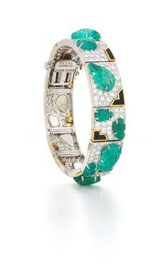 David Webb New York - Carved leaf emeralds, brilliant-cut diamonds, black enamel, 18K gold, and platinum