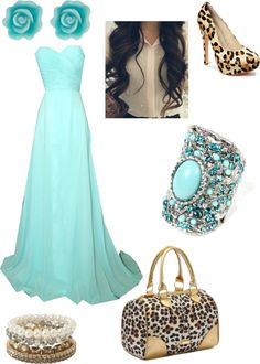 """""""Cheetah and turqoise"""" by mjvaagene on Polyvore"""