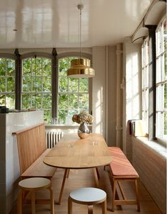 StudioIlse kitchen with Together Table, Bench with Back, and Bench. Photo by Leslie Williamson