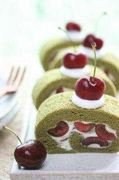 Matcha Rollcake with Dark Cherry