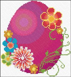easter egg free cross stitch chart. I love the flowers on this.