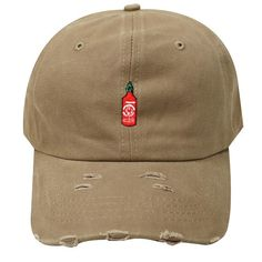Capsule Design Qv440 Hot Sauce Ripped Washed Cotton Baseball Dad Caps -  Khaki c5f319196d47