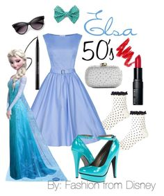 Elsa - 50's by fashion-from-disney on Polyvore featuring polyvore, fashion, style, River Island, Miss A., Lulu Townsend, ZeroUV, Bobbi Brown Cosmetics, Urban Decay, Disney and clothing