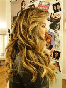 Very pretty curly layers in long hair. Cute hairstyle.  Like the color too