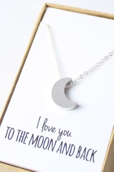 Silver Crescent Moon Necklace - Tiny Moon Necklace - I love you to the moon and back - Delicate Silver Necklace - Valentine's Day Gift
