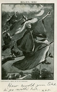 """Seems like if the """"witches"""" could have flown, the Puritans wouldn't have been able to murder them. Vintage Halloween Cards, Halloween Pictures, Holidays Halloween, Halloween Crafts, Halloween Decorations, Halloween Witches, Retro Halloween, Halloween 2017, Halloween Stuff"""