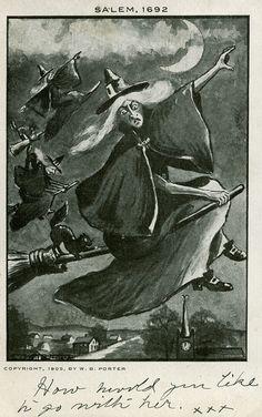 Vintage witch postcard, Salem Massachusetts
