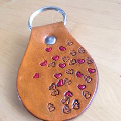 Leather Key Fob Floating Hearts Key Ring by LoveThatLeather, $15.00