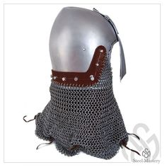 Helmet bascinet with nasal plate and mail aventail (camail), middle of the XIV century