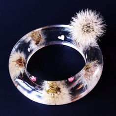 Dandelions bangle real wishies casted in water clear by RESILIN, $85.00