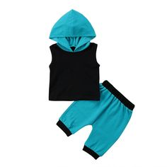Blue and Black Baby Boy Summer Set Black Baby Boys, Black Babies, Pants Outfit, Outfit Sets, Baby Boy Clothing Sets, Summer Set, Sleeveless Hoodie, Blue Pants, Boy Fashion