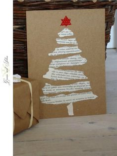 These torn paper tree cards. - Christmas Fun - These torn paper tree cards. Diy Christmas Cards, Noel Christmas, Christmas Projects, Christmas Ornaments, Christmas Ideas, Christmas Music, Homemade Christmas Tree, Cheap Christmas, Christmas Books