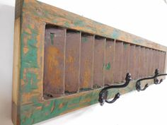 Antique Window Shutter Coat Rack, Primitive Coat Rack, Antique Coat rack, Vintage Shutter, Cast Iron Wall Hook,Architectural Salvage Shutter on Etsy, $65.00