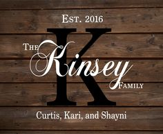 Custom Monogram Name Sign With Family Members Names, Established Date and Year, Family Name