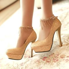 7da4fd5525b Golden Platform Stiletto Heels with Ankle Strap Chain Pumps Gold Prom Shoes