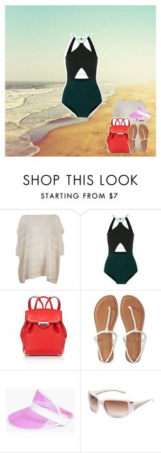 """Dancing on the beach"" by brooklynbeatz ❤ liked on Polyvore featuring Flagpole Swim, Alexander Wang, Aéropostale, Boohoo and Prada"