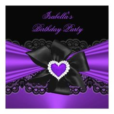 Purple Lace Birthday party Diamond Heart Black Personalized Invite