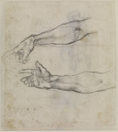 Study of an outstretched arm for a fresco, by Michelangelo c 1508. Michelangelo's style, known as Mannerism, was based on the elegant and expressive poses of his subjects. The position of the hands and feet were key to this. This study shows his attention to perfecting the angles and nuances of the hand.
