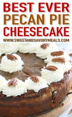 Pecan Pie Cheesecake - Desserts - Pecan Pie Cheesecake has a layer of rich and creamy New York cheesecake, sandwiched between two thick layers of pecan pie filling. Pecan Pie Cheesecake, Cheesecake Desserts, Pecan Pie Cupcakes, Chocolate Cheesecake, Easy Desserts, Delicious Desserts, Dessert Recipes, Summer Desserts, Pie Recipes