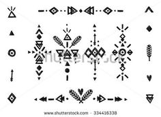 Hand drawn tribal collection with stroke, line, arrow, decorative elements, feathers, geometric symbols ethnic style. Flash Tattoo isolated on white background