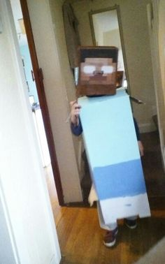 Minecraft,herobrine costume made from boxes....x