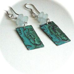 Seahorse Earrings Blue Green Artisan Earrings by BayMoonDesign, $15.00