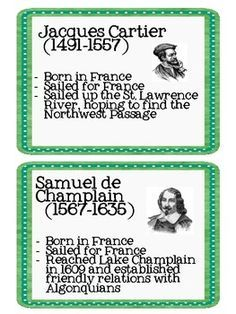 Here's a set of European Explorer printable information cards on John Cabot, Giovanni da Verazano, Jacques Cartier, Samuel de Champlain, and Henry Hudson. Also includes two pages of outline notes.