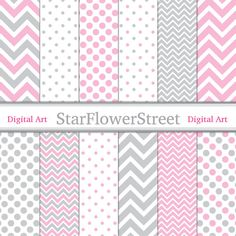 Pink Gray Digital Paper Chevron Polka Dot Girl Scrapbook Background - patterns soft baby grey scrapbooking 8.5x11 instant download by StarFlowerStreetDA