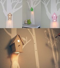 IF I EVER HAVE A LIL GIRL THIS WOULD BE   PERFECT IN HER OWL ROOM!  bird houses as night lights for the kids' bedroom     never would have thought of that this is awesome!