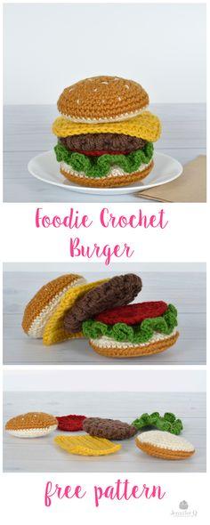 Fun and free Foodie Crochet Burger pattern. On the blog www.jenniferq.com