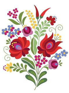 Hungarian Folk Design Red Rose and Peppers - Kunst Tätowierung Hungarian Embroidery, Crewel Embroidery, Embroidery Patterns, Indian Embroidery, Embroidery Thread, Folk Art Flowers, Flower Art, Bordado Popular, Polish Folk Art