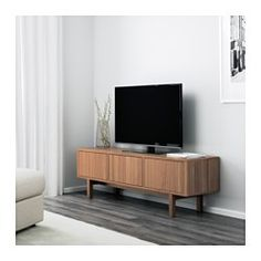 IKEA - STOCKHOLM, TV bench, walnut veneer, The TV bench in walnut veneer with legs of solid ash brings a warm, natural feeling to your room. The distinctive grain pattern in the walnut veneer gives each piece of furniture a unique character. Ikea Stockholm, Tv Ikea, Ikea Tv Unit, Ikea Hack, Media Furniture, Living Room Furniture, Ikea Furniture, Living Rooms