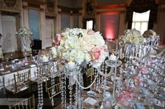 flower centerpiece, white and pink roses, dripping crystals www.hanafoto.com