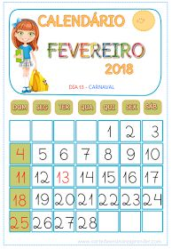A Arte de Ensinar e Aprender: Calendário FEVEREIRO 2018