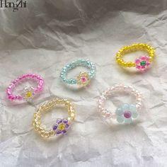 Diy Beaded Rings, Wire Jewelry Rings, Bead Jewellery, Beaded Bracelets, Handmade Beaded Jewelry, Girls Jewelry, Cute Jewelry, Jewelry Crafts, Homemade Jewelry