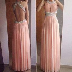 Halter Beaded Ruched Chiffon A-line Floor-Length Prom Dress, Evening Dress Featuring Open Back on Luulla