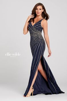 Ellie Wilde EW120098. Sleeveless crepe sheath gown with a v-neck, stone accents through gown, v-back, side slit and a sweep train.