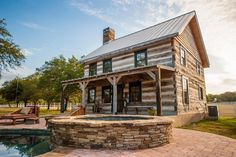 896 square feet cabin originally built in the 1840′s  previously served as an inn in Lebanon, Pennsylvania and now in Austin, Texas