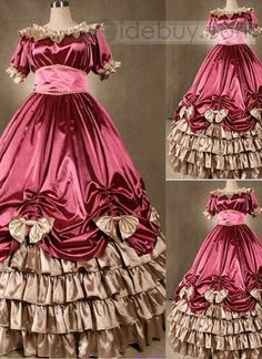 Elegant Pink Gothic Victorian Dress with Bows